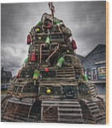 Lobster Trap Tree Wood Print by Eric Gendron