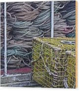Lobster Traps And Ropes Wood Print by Stuart Litoff