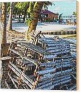 Lobster Traps Caye Caulker Belize Wood Print