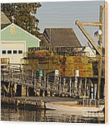 Lobster Traps On Dock Wood Print