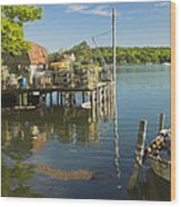 Lobster Traps On Pier In Round Pound On The Coast Of Maine Wood Print