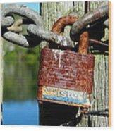 Lock And Chain Wood Print