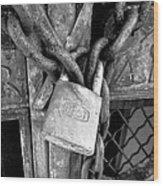 Locked - Black And White Wood Print