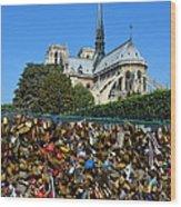 Locks Galore On The Pont De L'archeveche In Paris Wood Print