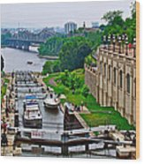 Locks On Rideau Canal East Of Parliament Building In Ottawa-on Wood Print