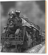 Locomotive 639 Type 2 8 2 Front And Side View Bw Wood Print
