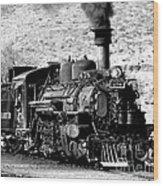 Locomotive Black And White Train Steam Engine Wood Print