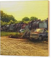 Locomotive Graveyard Wood Print