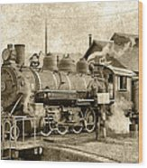 Locomotive No. 15 In The Yard Wood Print