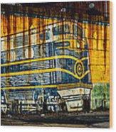 Locomotive On A Wall Wood Print