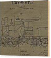 Locomotive Patent Postcard Wood Print