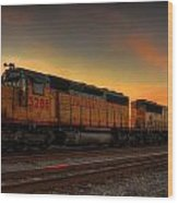Locomotive Sunset Wood Print