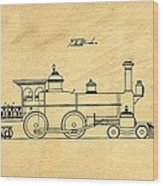 Locomotive Support Patent Drawing From 1915 1 Wood Print