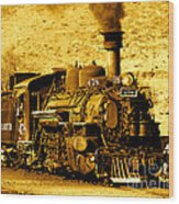 Sepia Locomotive Coal Burning Train Engine   Wood Print