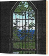 Lodge Window At The Clearing Wood Print