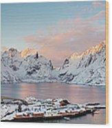 Lofoten Islands Winter Panorama Wood Print