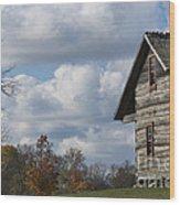 Log Cabin And November Sky Wood Print