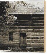 Log Cabin Home Wood Print by Brenda Donko
