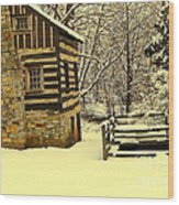 Log Cabin In The Snow Wood Print