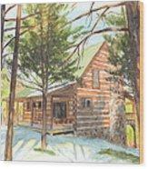 Log Cabin In The Woods Watercolor Portrait Wood Print