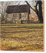 Log Cabin On A Hill Wood Print