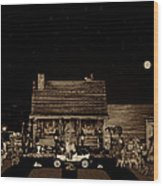 Log Cabin Scene Near The Ocean In Sepia Color With Old Time Classic 1908 Model T Ford Wood Print