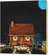Log Cabin Scene With Old Time Vintage Classic 1930 Packard Labaron In Color Wood Print