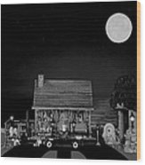 Log Cabin Scene With Old Vintage Classic 1938 Mercedes Benz 770k Pullman Convertible In B/w Wood Print