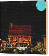 Log Cabin Scene  With The Old Vintage Classic 1913 Buick Model 25 In Color Wood Print