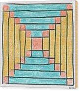 Log Cabin Variation - Retro Seafoam Wood Print