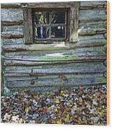 Log Cabin Window And Fall Leaves Wood Print