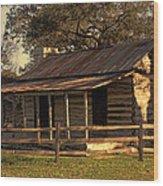 Log Cabins In Sunset Wood Print by Linda Phelps