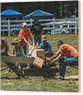 Log Cutting Competition Wood Print