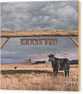 Log Entrance To Grass Fed Angus Beef Ranch Wood Print