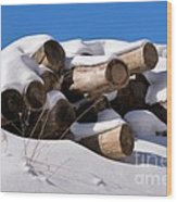 Log Pile In A Snow Drift In Winter Wood Print
