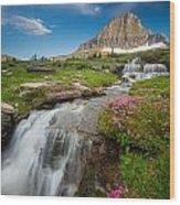 Logan Pass Cascades Wood Print