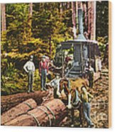 Logging With Steam Donkey Engine Near Olympia Washington Circa 1900 Wood Print