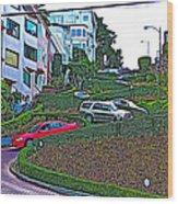 Lombard Street In San Francisco-california  Wood Print