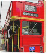 London Bus Heading To Kensington Wood Print