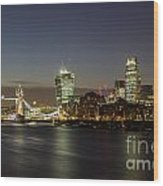 London City And Tower Bridge Wood Print
