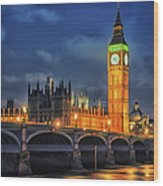 London - City Of Westminster And River Wood Print