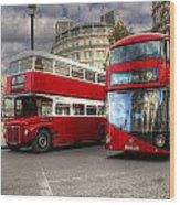 London Double Decker Buses Wood Print