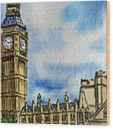 London England Big Ben Wood Print by Irina Sztukowski