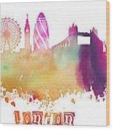 London England Skyline Pastel Wood Print
