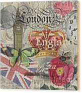 London England Vintage Travel Collage  Wood Print