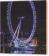 London Eye By Night Wood Print
