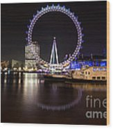 London Eye Night Wood Print