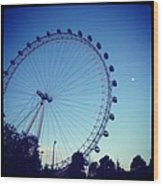London Eye With Full Moon Wood Print by Maeve O Connell