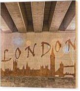 London Graffiti Skyline Wood Print