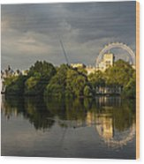 London - Illuminated And Reflected Wood Print